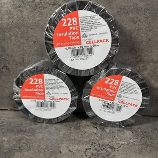 3 Rollen Cellpack PVC Isolierband schwarz 20m x 25mm